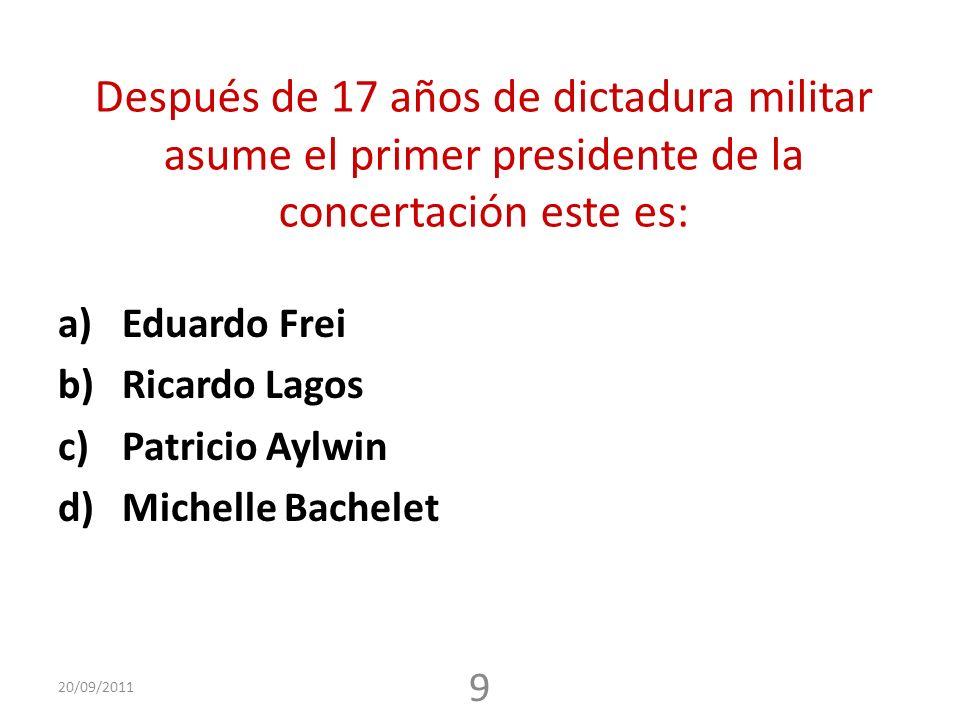 Después de 17 años de dictadura militar asume el primer presidente de la concertación este es: