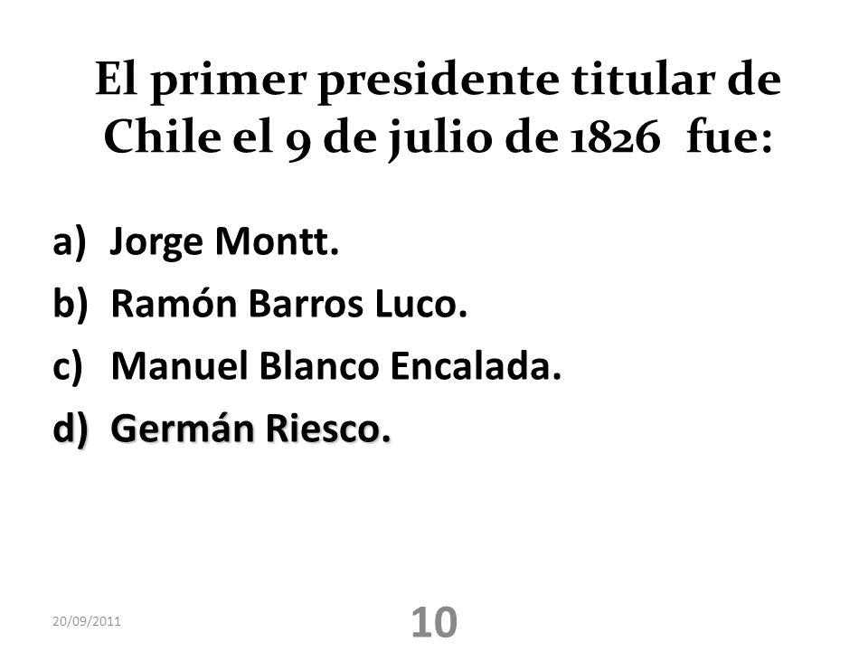 El primer presidente titular de Chile el 9 de julio de 1826 fue: