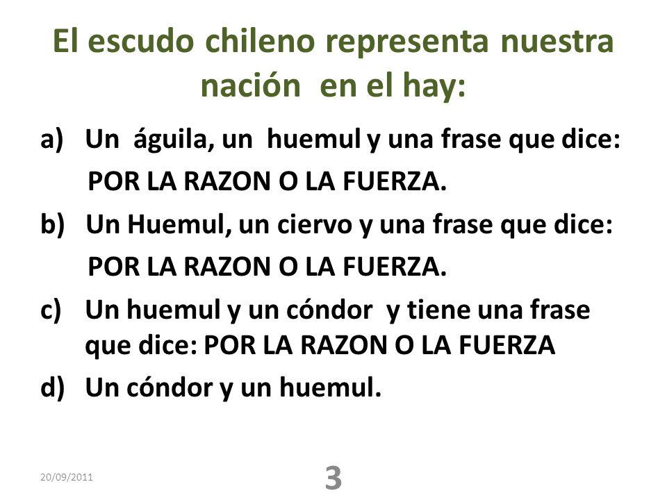 El escudo chileno representa nuestra nación en el hay: