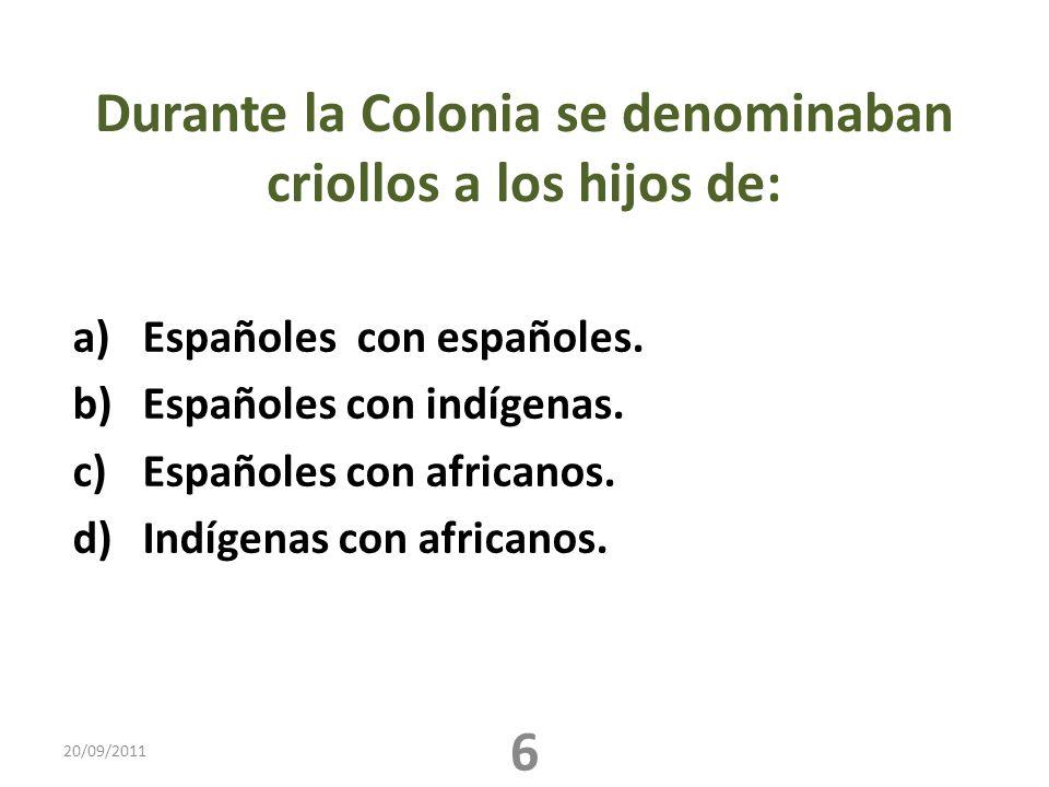 Durante la Colonia se denominaban criollos a los hijos de: