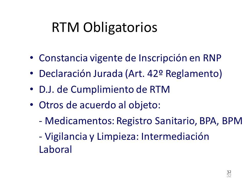 RTM Obligatorios Constancia vigente de Inscripción en RNP
