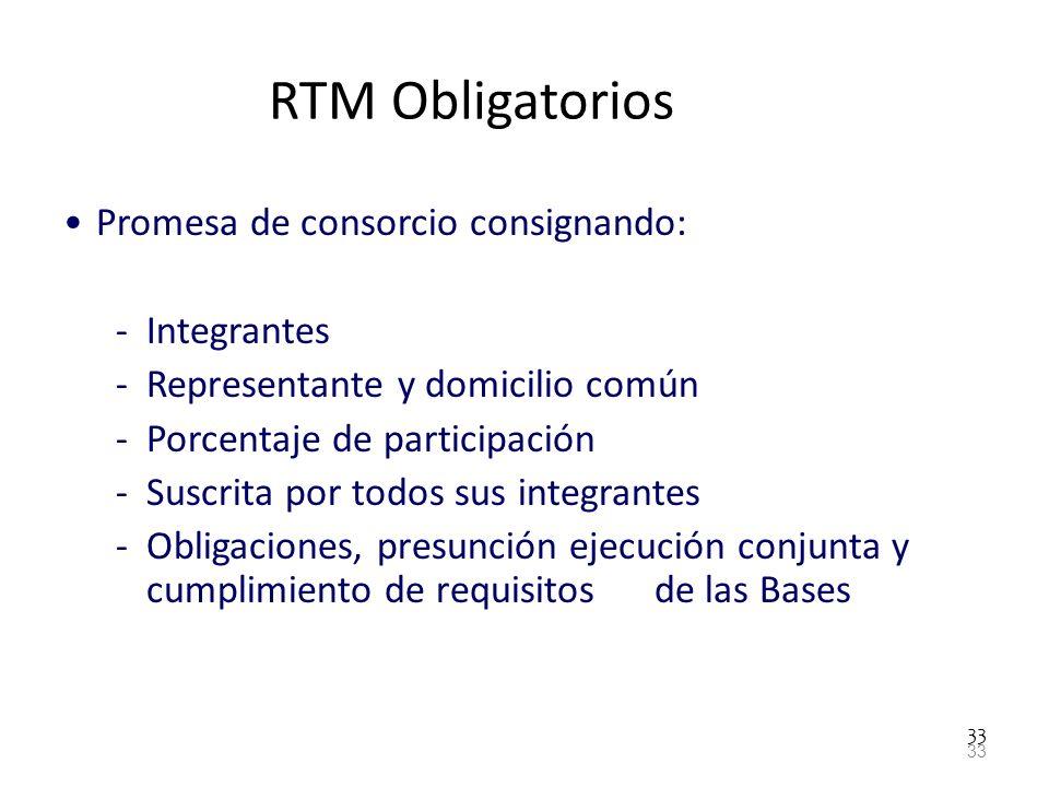 RTM Obligatorios Promesa de consorcio consignando: Integrantes