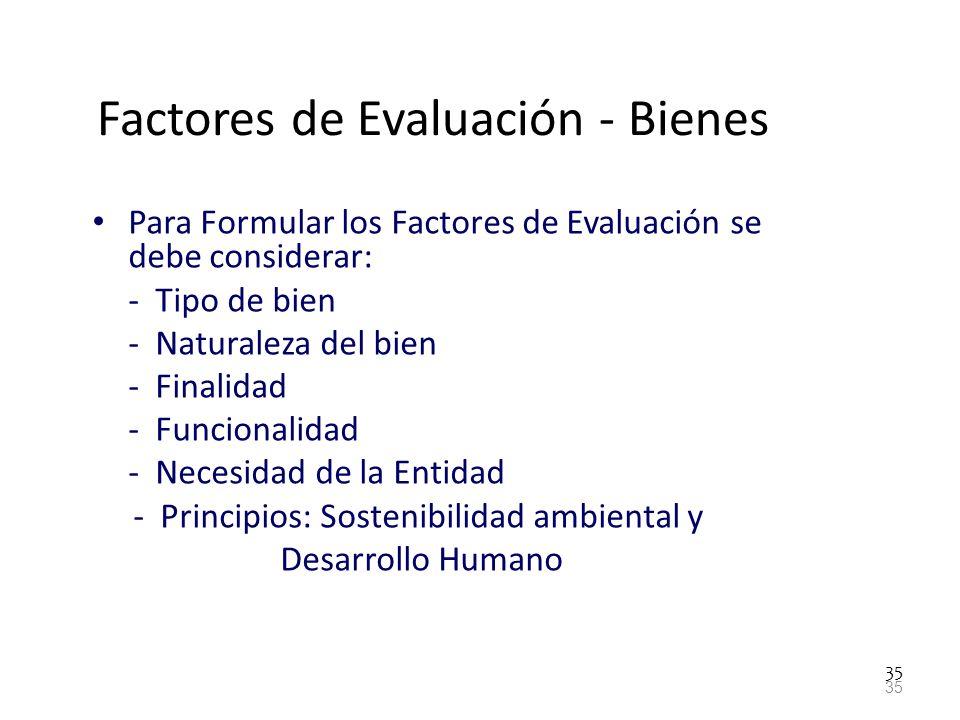 Factores de Evaluación - Bienes