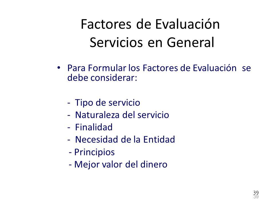 Factores de Evaluación Servicios en General