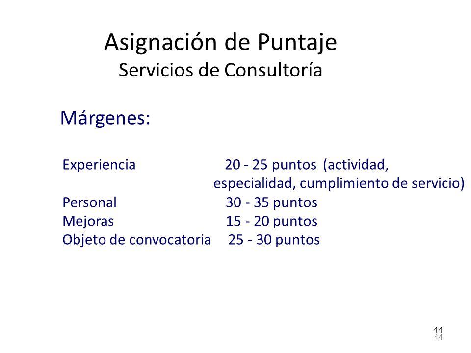 Asignación de Puntaje Servicios de Consultoría