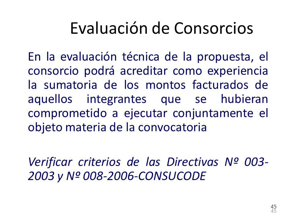 Evaluación de Consorcios
