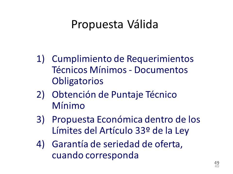 Propuesta Válida Cumplimiento de Requerimientos Técnicos Mínimos - Documentos Obligatorios. Obtención de Puntaje Técnico Mínimo.