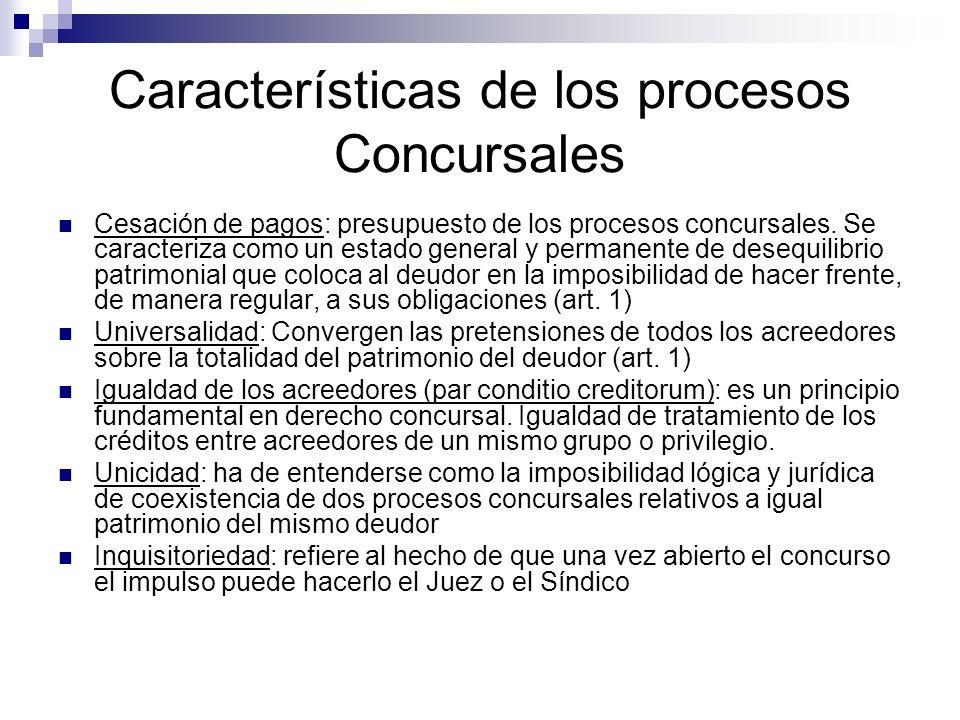 Características de los procesos Concursales