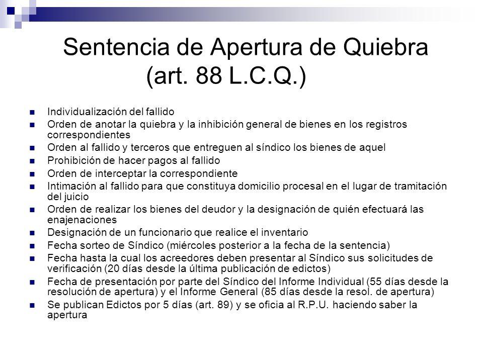 Sentencia de Apertura de Quiebra (art. 88 L.C.Q.)