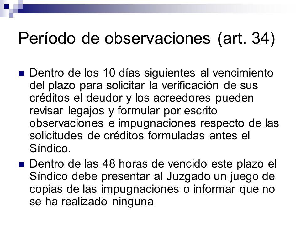 Período de observaciones (art. 34)