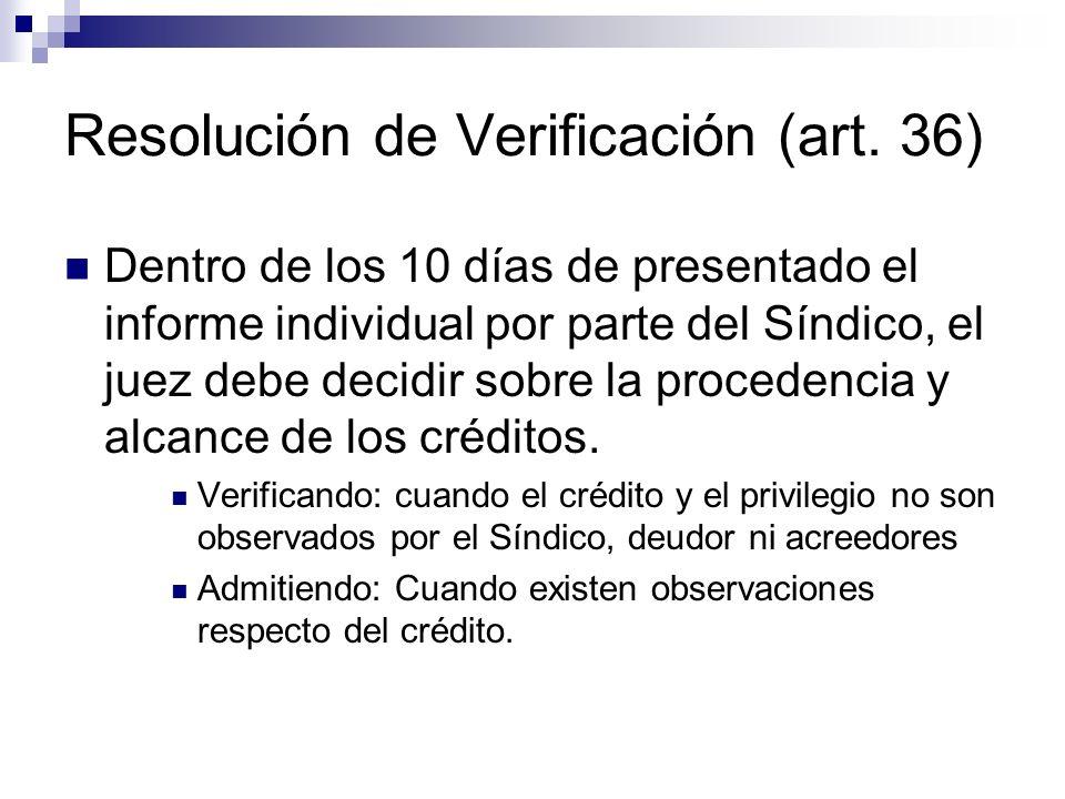 Resolución de Verificación (art. 36)
