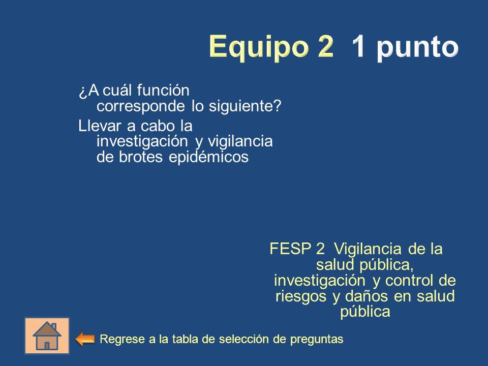 Equipo 2 1 punto ¿A cuál función corresponde lo siguiente Llevar a cabo la investigación y vigilancia de brotes epidémicos