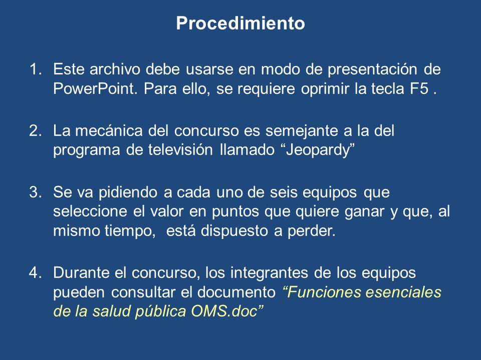 Procedimiento Este archivo debe usarse en modo de presentación de PowerPoint. Para ello, se requiere oprimir la tecla F5 .