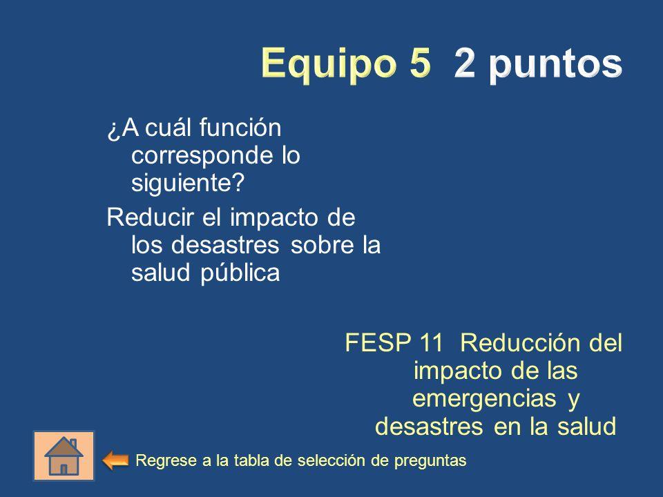 Equipo 5 2 puntos ¿A cuál función corresponde lo siguiente Reducir el impacto de los desastres sobre la salud pública