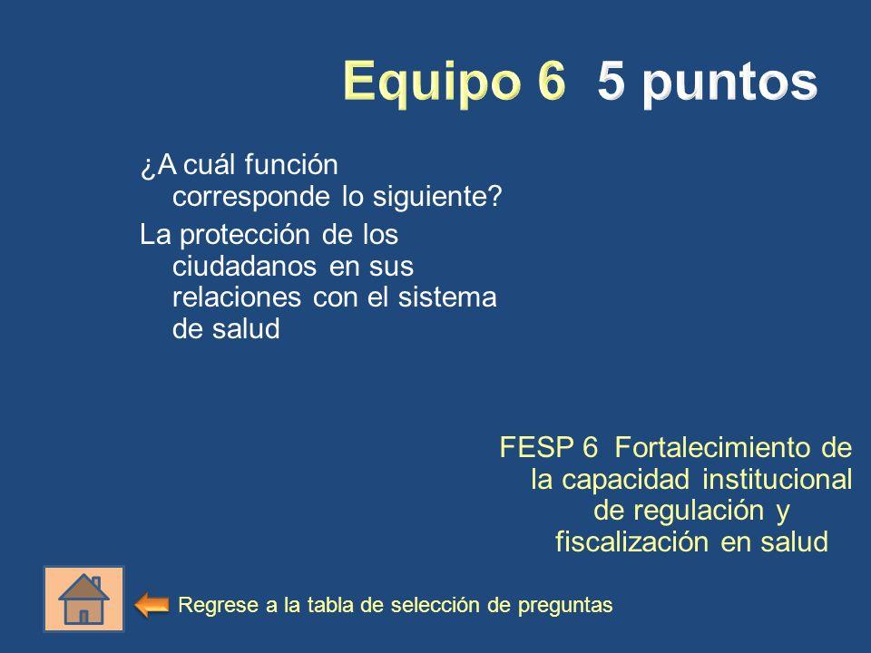 Equipo 6 5 puntos ¿A cuál función corresponde lo siguiente La protección de los ciudadanos en sus relaciones con el sistema de salud