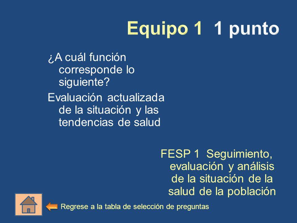 Equipo 1 1 punto ¿A cuál función corresponde lo siguiente Evaluación actualizada de la situación y las tendencias de salud