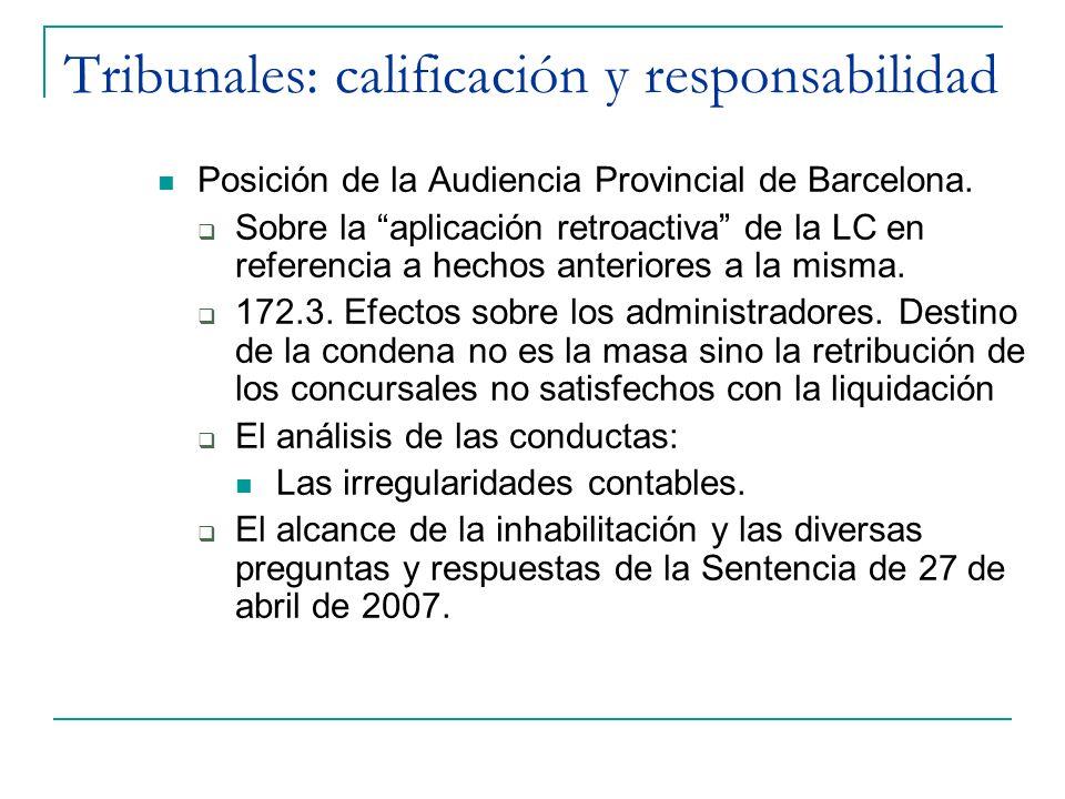 Tribunales: calificación y responsabilidad