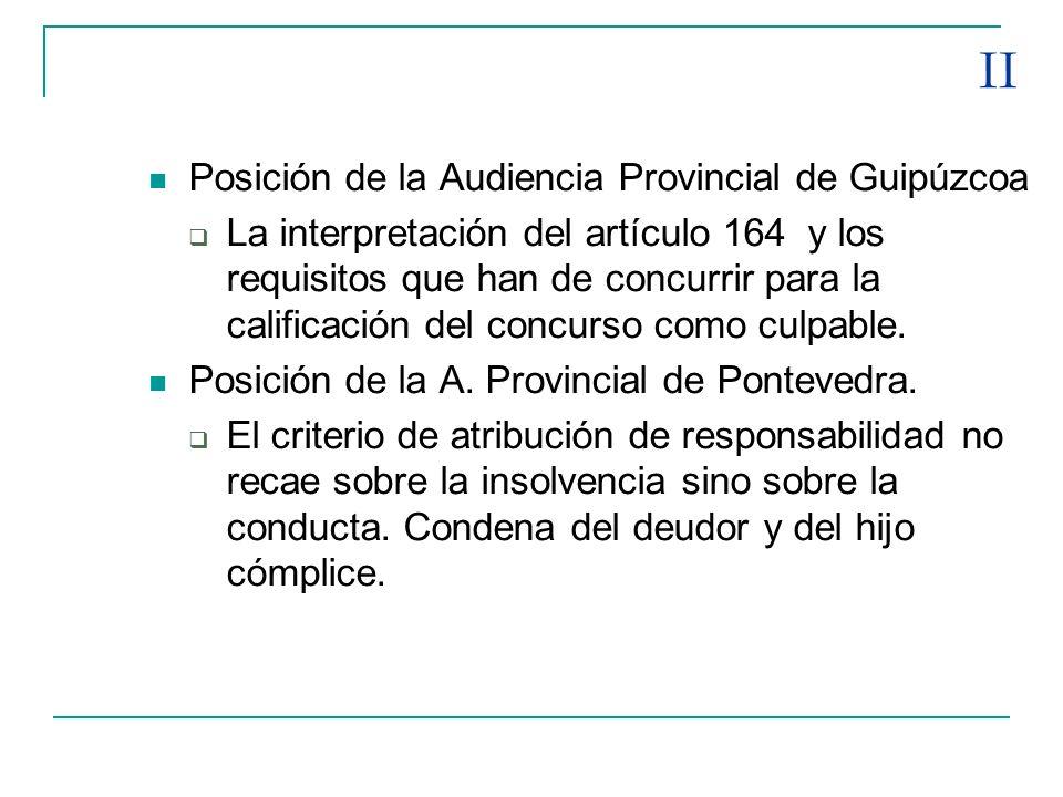 II Posición de la Audiencia Provincial de Guipúzcoa