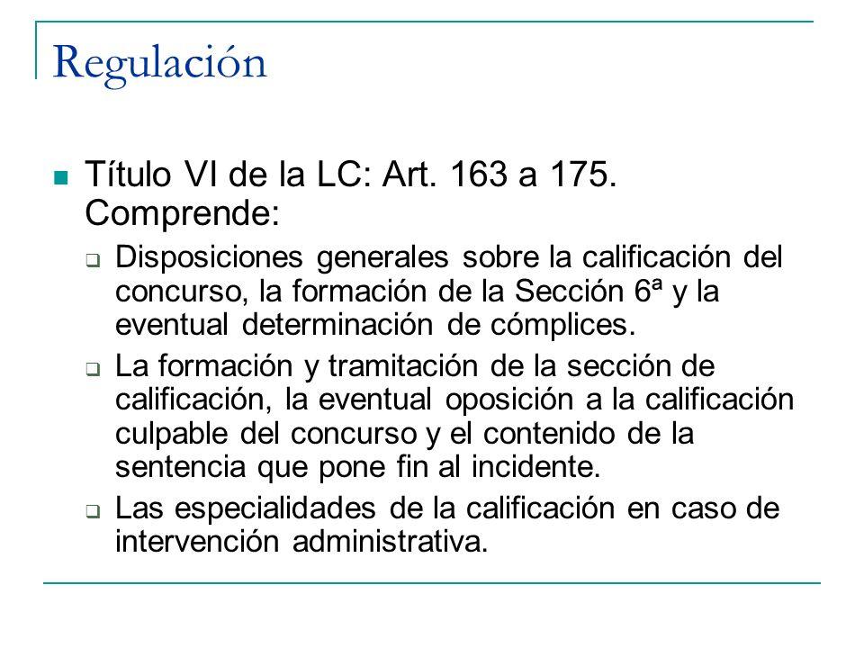 Regulación Título VI de la LC: Art. 163 a 175. Comprende: