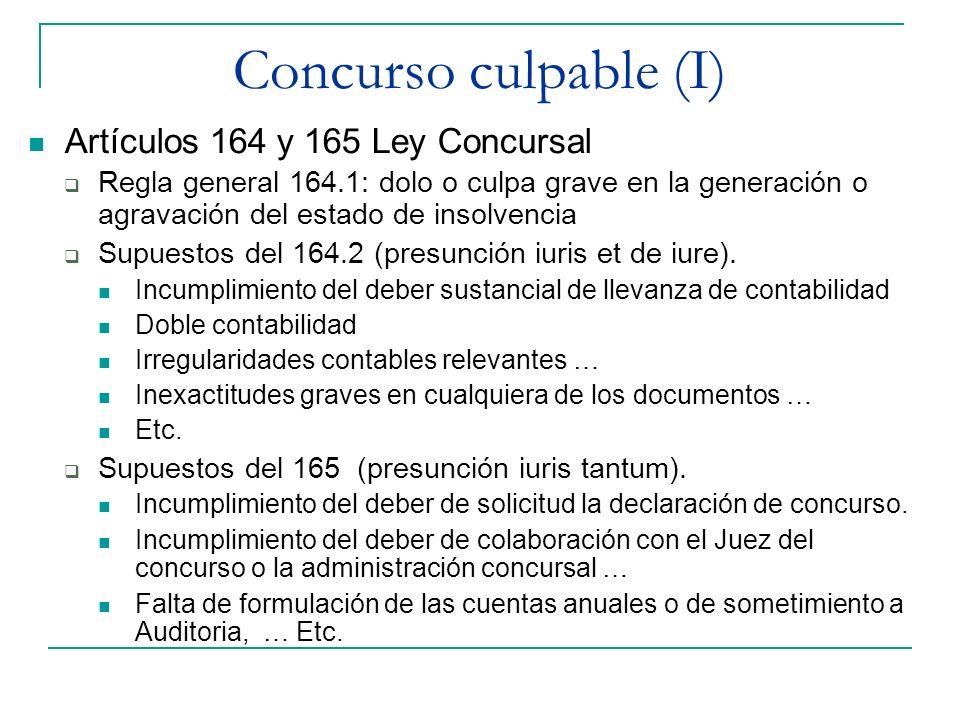 Concurso culpable (I) Artículos 164 y 165 Ley Concursal