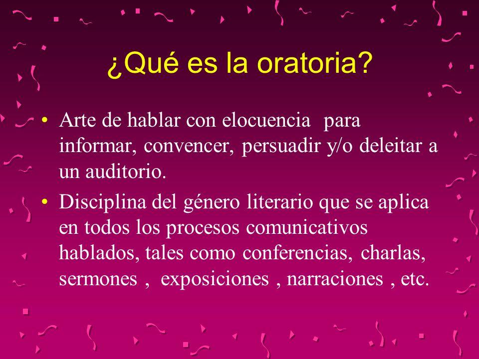 ¿Qué es la oratoria Arte de hablar con elocuencia para informar, convencer, persuadir y/o deleitar a un auditorio.
