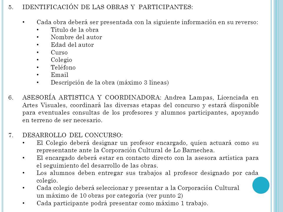 IDENTIFICACIÓN DE LAS OBRAS Y PARTICIPANTES: