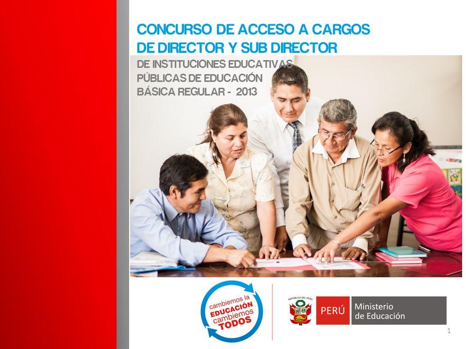 Concurso de acceso a cargos de director Y SUB DIRECTOR DE INSTITUCIONES EDUCATIVAS PÚBLICAS DE EDUCACIÓN BÁSICA REGULAR - 2013