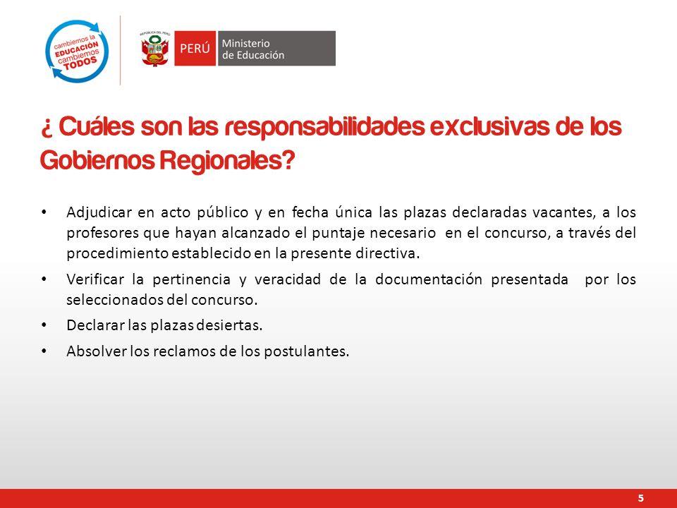 ¿ Cuáles son las responsabilidades exclusivas de los Gobiernos Regionales