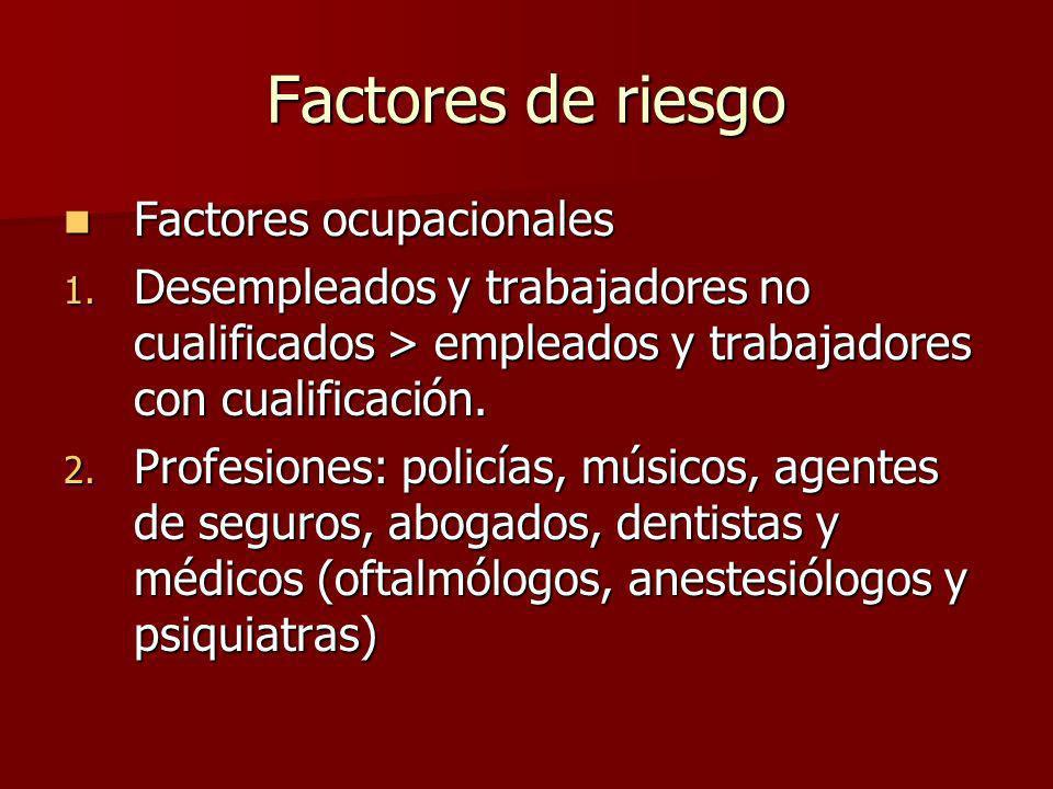 Factores de riesgo Factores ocupacionales