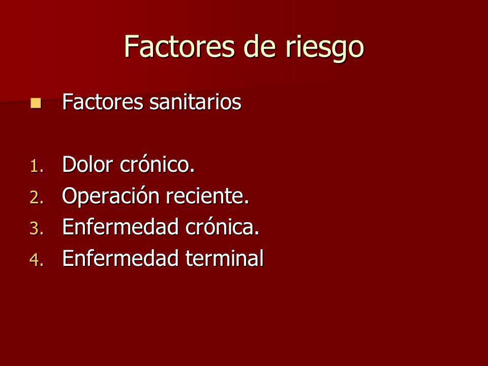 Factores de riesgo Factores sanitarios Dolor crónico.
