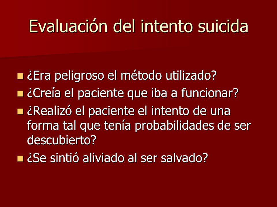 Evaluación del intento suicida