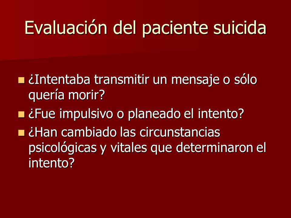 Evaluación del paciente suicida
