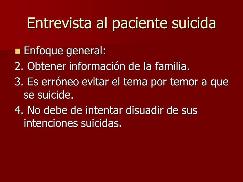 Entrevista al paciente suicida