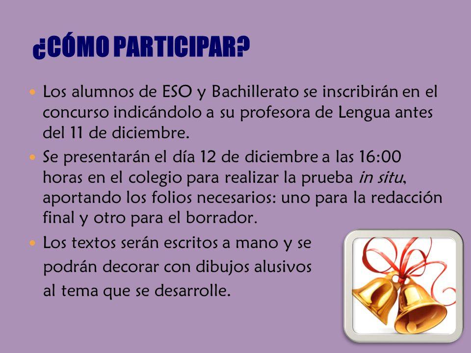 ¿CÓMO PARTICIPAR Los alumnos de ESO y Bachillerato se inscribirán en el concurso indicándolo a su profesora de Lengua antes del 11 de diciembre.
