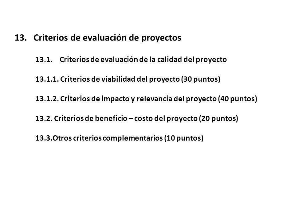 13. Criterios de evaluación de proyectos