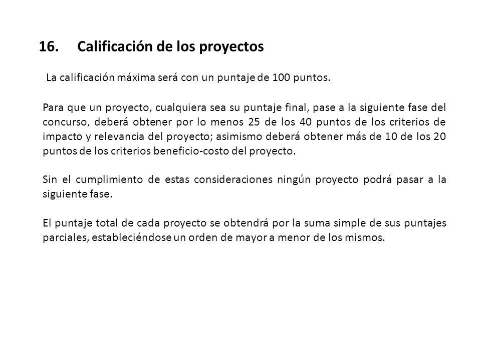16. Calificación de los proyectos