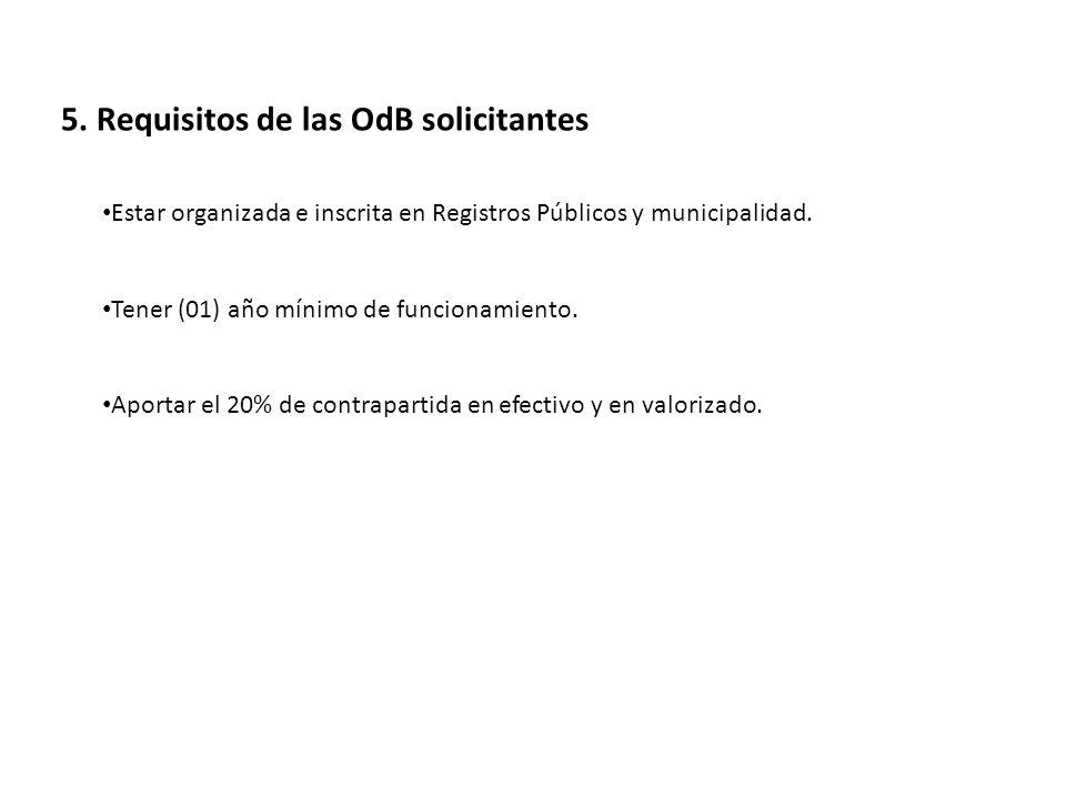 5. Requisitos de las OdB solicitantes