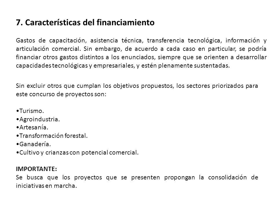 7. Características del financiamiento