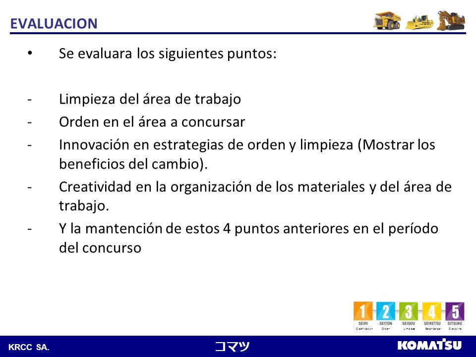 EVALUACION Se evaluara los siguientes puntos: Limpieza del área de trabajo. Orden en el área a concursar.