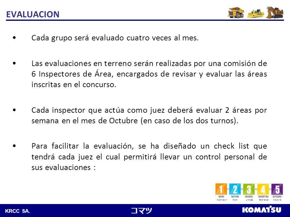 EVALUACION Cada grupo será evaluado cuatro veces al mes.