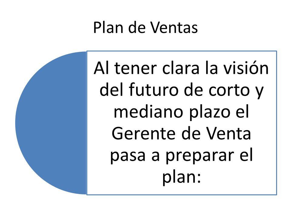 Plan de Ventas Al tener clara la visión del futuro de corto y mediano plazo el Gerente de Venta pasa a preparar el plan: