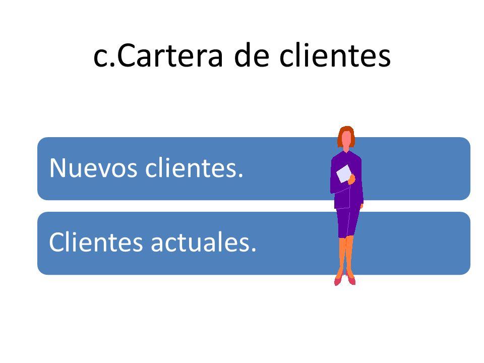 c.Cartera de clientes Nuevos clientes. Clientes actuales.