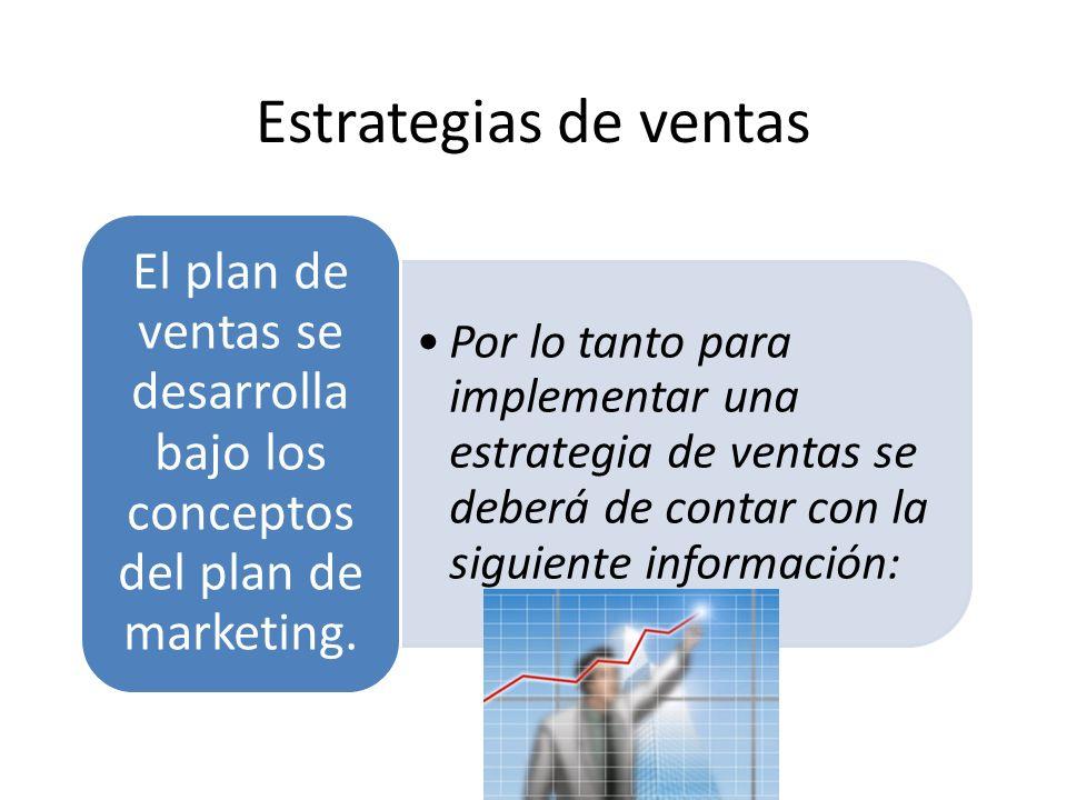 Estrategias de ventas El plan de ventas se desarrolla bajo los conceptos del plan de marketing.