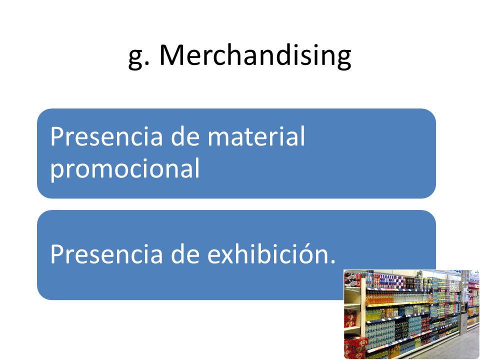 g. Merchandising Presencia de material promocional