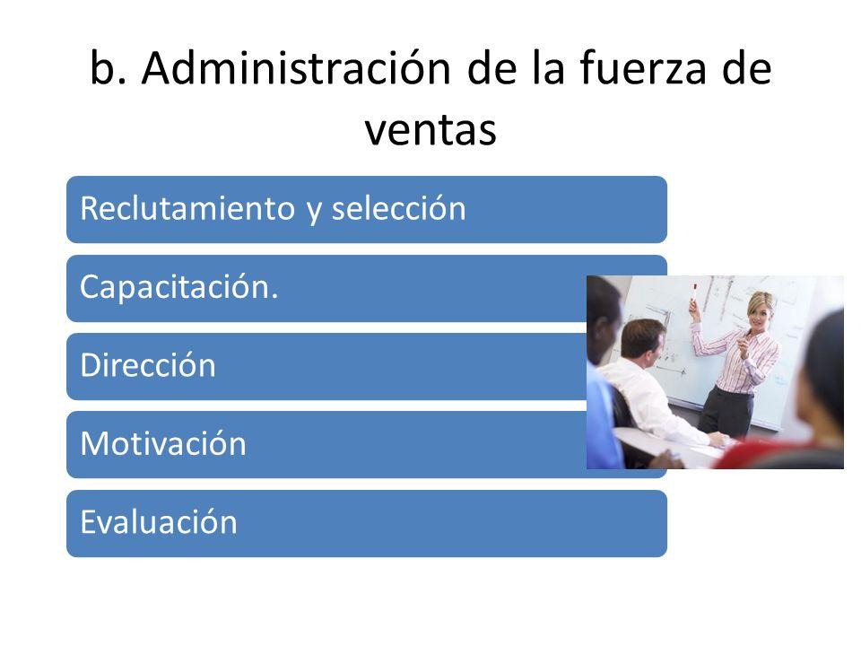 b. Administración de la fuerza de ventas