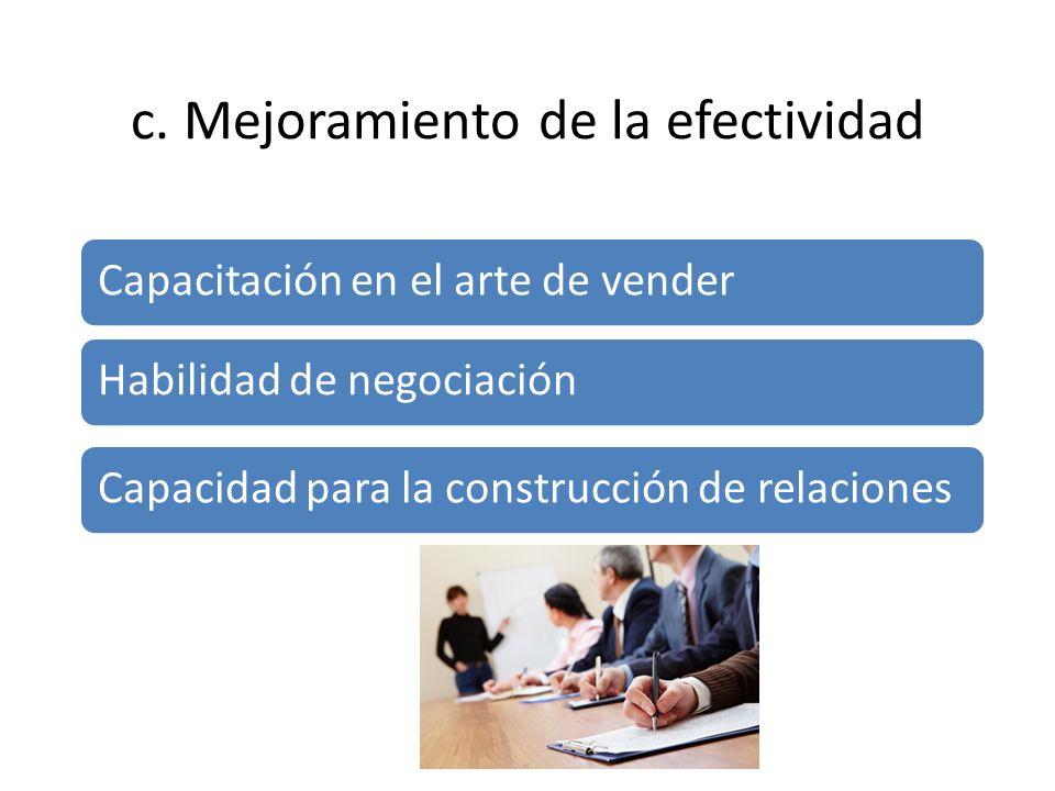 c. Mejoramiento de la efectividad