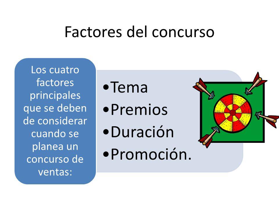 Factores del concurso Los cuatro factores principales que se deben de considerar cuando se planea un concurso de ventas: