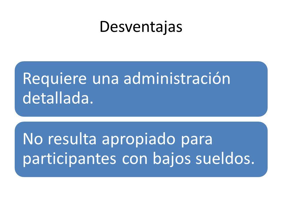 Desventajas Requiere una administración detallada.