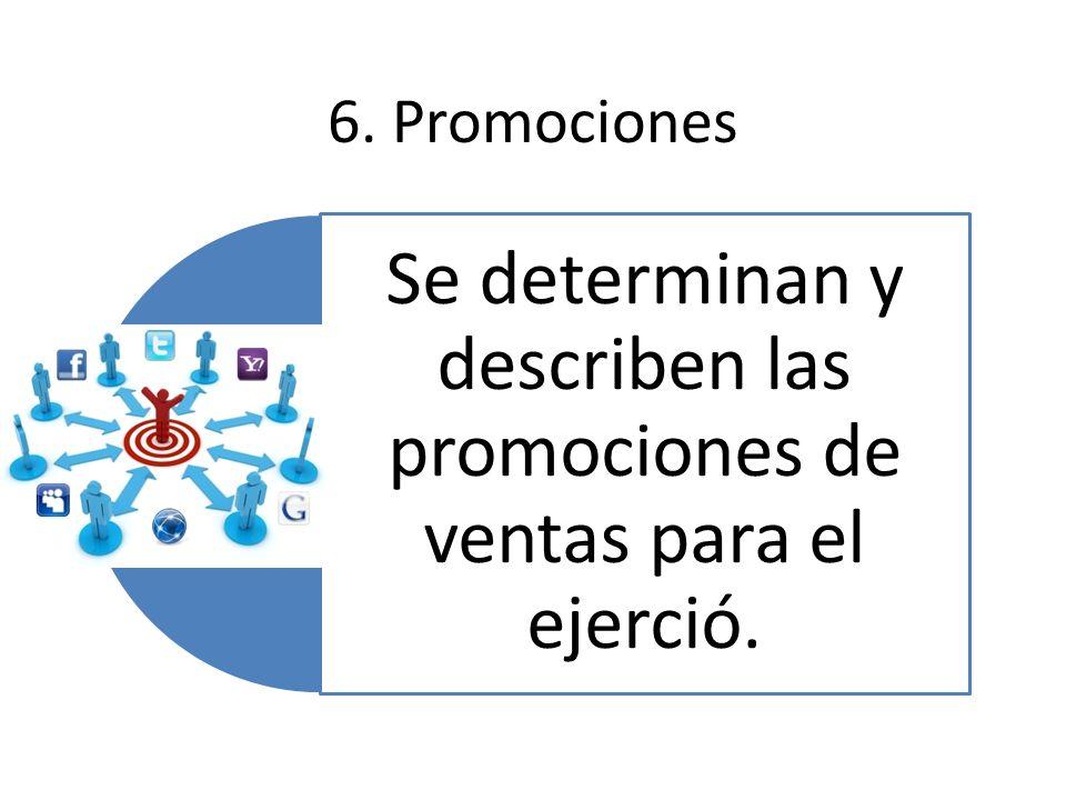 Se determinan y describen las promociones de ventas para el ejerció.