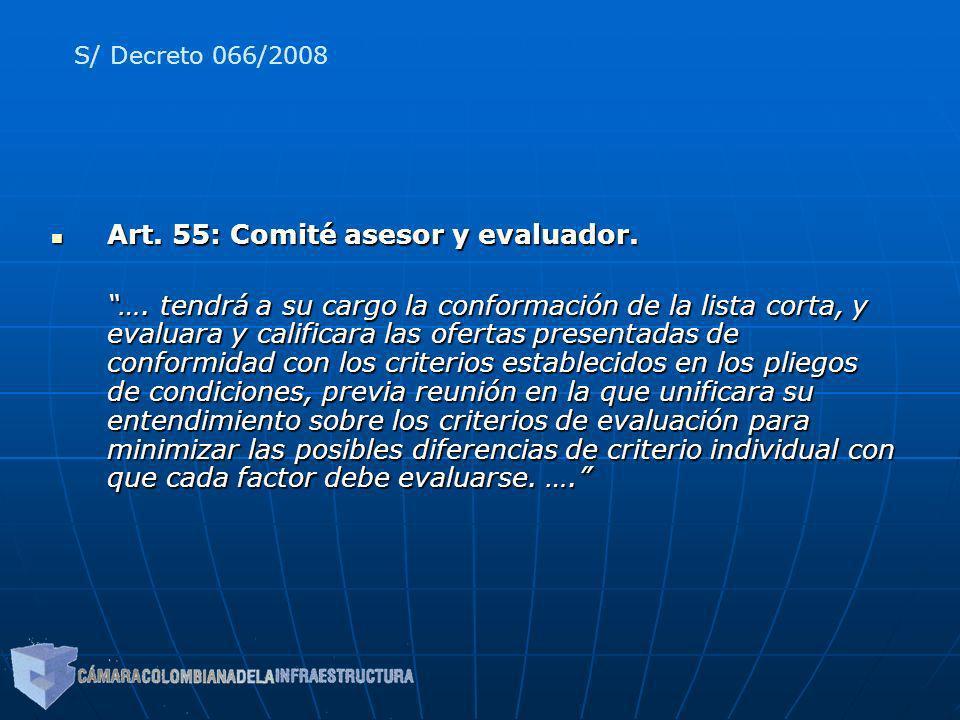 Art. 55: Comité asesor y evaluador.